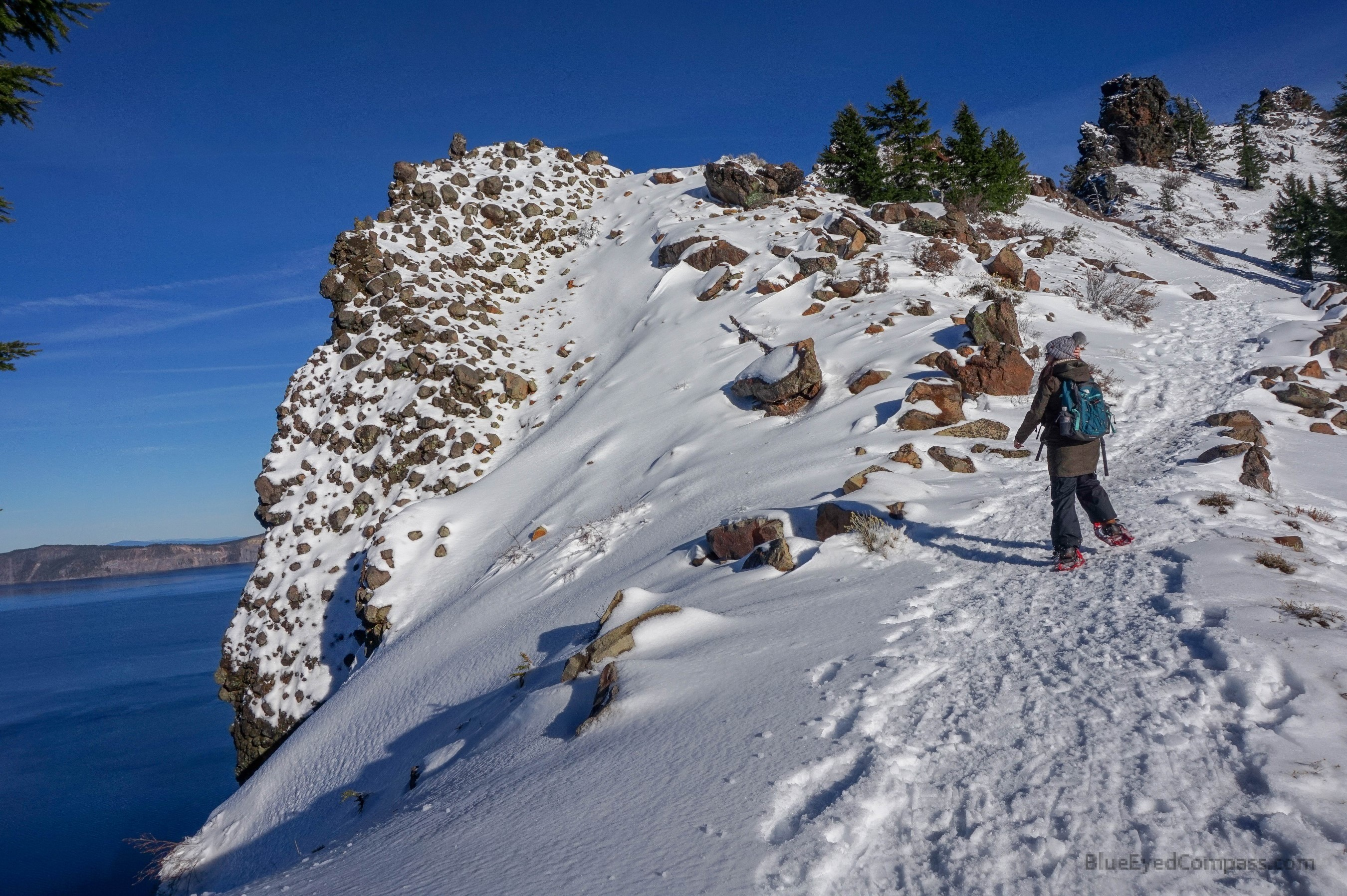 Snowshoeing at edge of Crater Lake