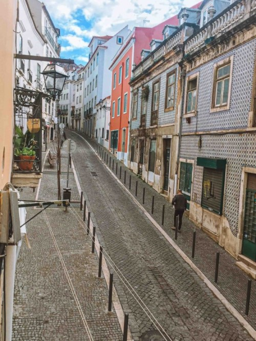 Alfama neighborhood in Lisbon, Blue Eyed Compass