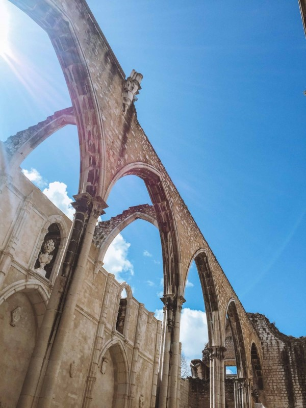 inside of Carmo Convent in Lisbon