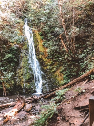Madison Creek Falls waterfall, Olympic Peninsula, Blue Eyed Compass